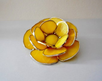 Yellow Candle Holder. Stained Glass Waterlily. Handmade Stained Glass Votive. Made To Order.