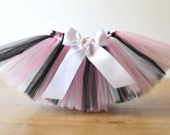 Black, White, & Pink tutu 'Paris' Newborn tutu baby tutu photo prop girls birthday tutu skirt 3 months 6 months 9 months 12 months 18 months
