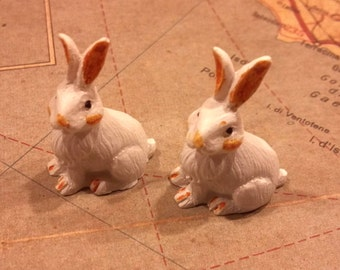 2 Plastic Miniature Rabbits / Bunnies / Spring / Easter / Craft Supplies / altered art supplies / assemblage supplies / mixed media / hare