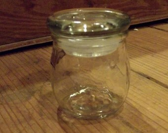 Small Round Apothecary Glass Jar with Glass Stopper / Craft Supplies / Bottle Supplies / Containers / mixed media / altered art