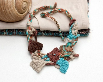 Statement necklace, knitted necklace, fiber art jewelry, fiber necklace, wearable art, brown turquoise beige, OOAK