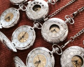 Set of 7 Silver Groomsmen pocket watches with vest chains ships from Canada Q04