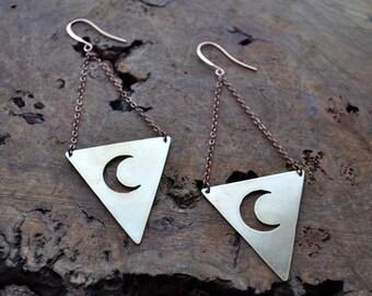 Triangle Moon Earrings
