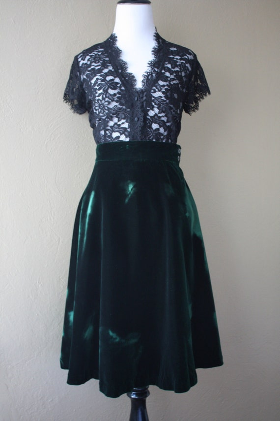 vintage emerald velvet high waisted skirt by
