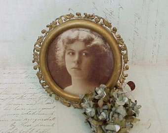 Darling Edwardian Era Easel Back Bronze Colored Metal Picture Frame