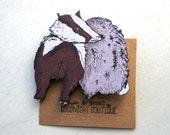 Badger Brooch Cute Brooch Woodcut Badger Pin