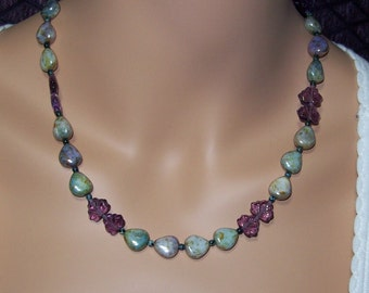 Blue and Purple Czech Glass Necklace. Antiqued Brass and Czech Glass.