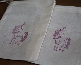Set of 10 Hand stamped Unicorn Kids Birthday Party Muslin Gift Favor Bags100% organic made in america