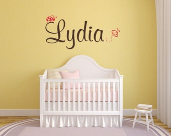 "Personalized Girl Name Lady Bug Vinyl Wall Decal....Perfect for any baby nursery...........""Your choice of color"""