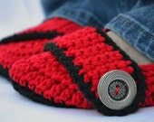 Cherry red slippers, womens crochet slippers, booties, shoes, socks, crochet slippers, womens slippers, button strap slippers