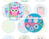 1 Inch 25mm Owl Image on the tree, Cute Owl Collection D, Circle Graphics, Digital Art Collage Work for Jewelry Making Paper Supplies