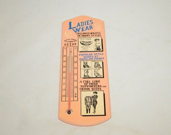 Vintage Advertising Thermometer For Ladies Wear, Shoes and Union Suits - 1980s Reproduction - Home Decor, Wall Hanging, Steampunk