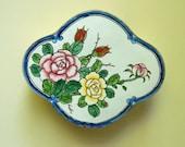 CHINESE ENAMELLED BOX  Roses Lotuses  Peonies  Hand Painted Enamel On Brass Trinket Box