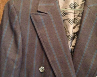 Vintage 50s brown blue pinstripes double breasted  jacket