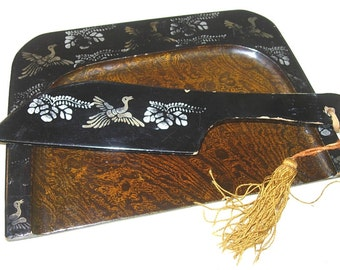 Vintage Shabby Black Lacquer Crumb Tray-Sweeper Set Bird-Leaf Motif Lacquerware Silent Butler Japan