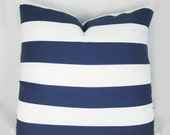 NavyAwning Stripes - Indoor Outdoor - Decorative Pillow Cushion Covers - Accent Pillow - Throw Pillow