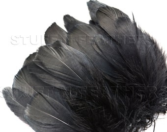 Black GOOSE NAGOIRE feathers, black feathers for millinery, crafts, costumes, decor, strung real feathers, 4-7 in (10-17.8 cm) long / F95-4