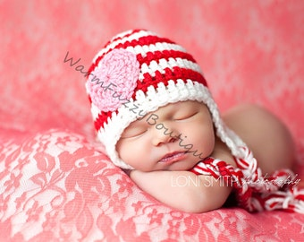 Valentine's Day Heart Striped Earflaps Hat - Newborn Beanie Boy Girl Costume Halloween Photo Prop Christmas Gift Outfit February 14th
