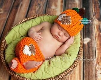 Instant Download PDF Crochet Pattern - No. 43 Baby Pumpkin Patch Hat & Pants Set - 3 Sizes