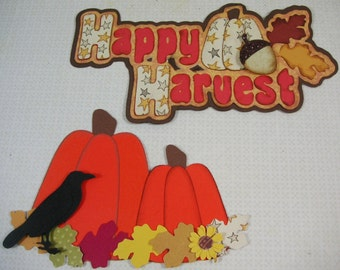 2 Fall Paper piecing handmade embellishments, Scrapook, cards, gift bags