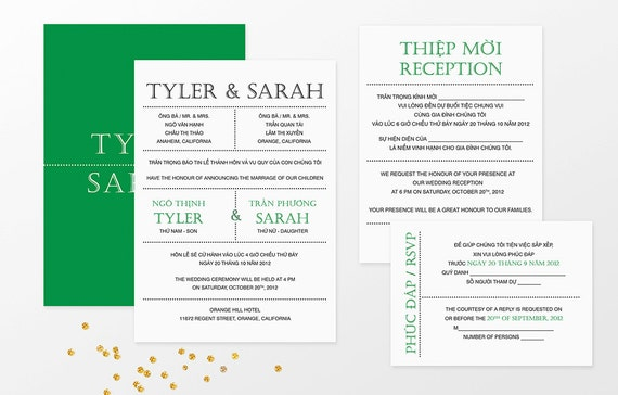 Printable Bilingual Vietnamese Wedding Invitation Set