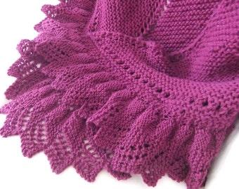 Wine Garter Stitch Hand Knit Shawl With Ruffled Lace Border