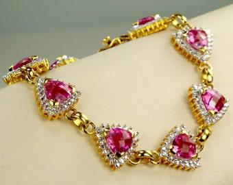 Pink Sapphire 18K Gold Exquisite Bracelet, Quinceanera Pink Gem Princess Bracelet, Fancy Hot Pink Checker Board Cut Trillion Gold Bracelet