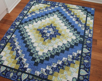 Large Modern Lap Quilt in Royal Blue, Olive Green and White, Barn Raising Trip Pattern