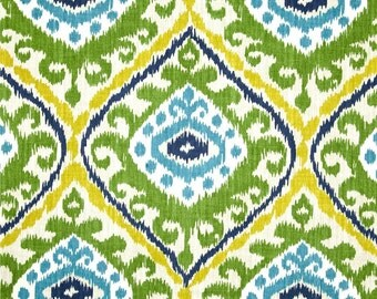 Green. Yellow and Blue Damask Custom Pillow Covers in Designer Fabric