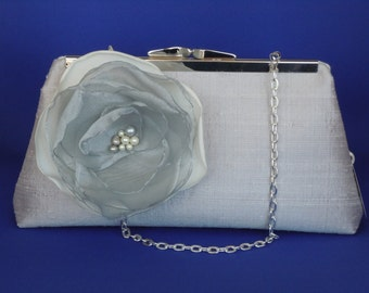 Light Grey Dupioni Silk Clutch for Weddings, Brides, Bridesmaids, Mother of the Bride, Mother of the Groom, Proms, Special Occasions
