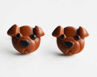 Dog Puppy Stud Earrings, Fimo, Polymer Clay