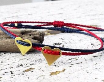 Heart bracelet, valentine, Friendship bracelet - brass heart on nylon cord