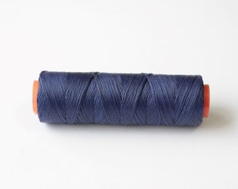 11 yards Navy blue  waxed cord, Waxed polyester cord, waxed thread, knotting cord, Macrame string, polyester thread, navy blue beading cord