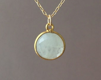 SMALL Gold White Moonstone Round Disc Necklace Long or Short