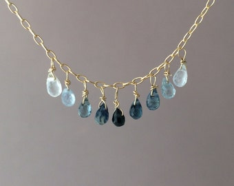 Real Blue Sapphire Teardrop Ombre Necklace Gold or Silver