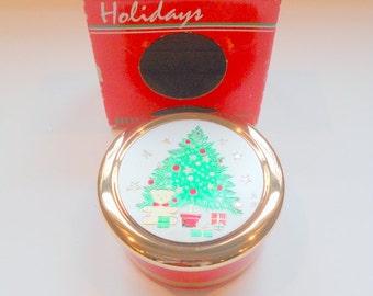 Vintage Trinket Box Chokin Christmas Tree Jewelry Box Holiday Jewelry Holder Japanese