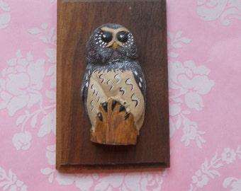 Vintage Owl Plaque Wood Wall Hanging Mini Carved Owl Figure