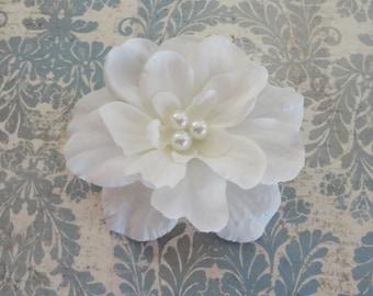 Bridal Soft  White Flower Hair Pin with 3 Pearl Center- Bridesmaids Hair Clip - Flower Girls Hair Clip - Flower Brooch