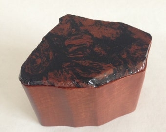 Wooden Box with Stone Lid - Mottled Red and Black