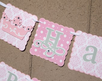 Princess Birthday Banner 3 Rows  Includes name, age and 4 crowns, Birthday, Celebration, Pink, Crowns,