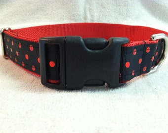 Custom Dog Collar in Black with Red Foil Polka Dots