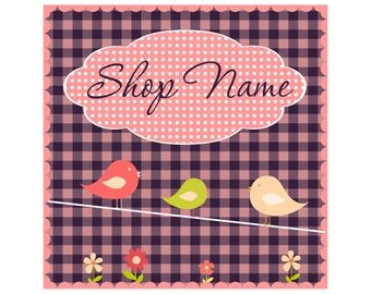 Premade Etsy Shop Banner Set Cover photo and shop icon Birds Flowers Pink White Polka Dots Checked Purple Graphic Design Custom Shop Header