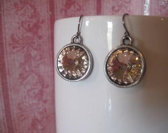 Swarovski vintage rose rivoli dangle earrings