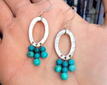 Devi - Turquoise & Silver Dangle Earrings