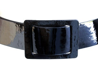 Vintage Betsey Johnson Large Black Leather Wide Wrap Belt with Big Buckle