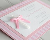 1st (First) Birthday Handmade Invitation with Candle for a Girl