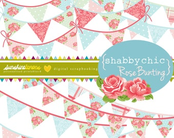 Shabby Chic Rose Digital Bunting Set - 9 piece set - COMMERCIAL USE Read Terms Below