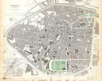 Brussels 1837. Antique City Map of Brussels, Belgium. Published by SDUK - MAP PRINT