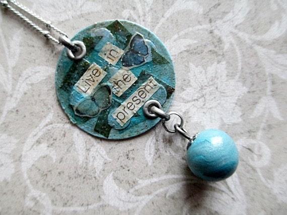 Mixed Media Collage Art Pendant Blue Beaded Jewelry Short Boho Inspirational Motivational