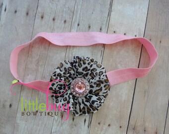 Cheetah Leaopard Chiffon Flower on Pink Elastic Headband with Pink Rhinestone Button For Newborns, Girls, Toddlers, Babies, Teens